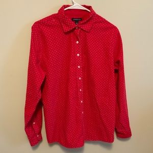Land's End Red Corduroy Long Sleeve Button Down